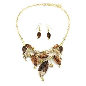 Fashion brown leaves necklace earring set